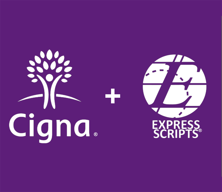 Cigna logo on the left and Express Scripts logo on the right with a plus sign in the middle